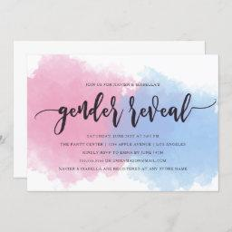 Pink & Blue Mist Gender Reveal Invitation