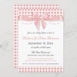 Pink Bow And Gingham Check Baby Shower Invitation