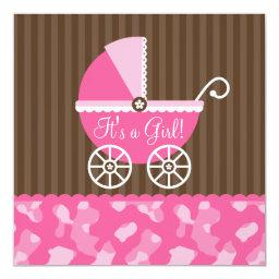 Pink Brown Carriage Camo Girl Baby Shower