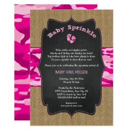 Pink Camo Baby Sprinkle Invite, Camouflage Burlap Invitation