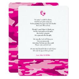 Pink Camo girl poem baby shower thank you note