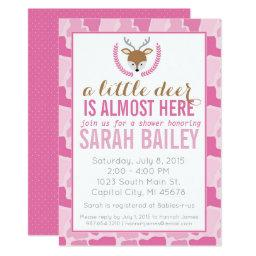 Pink Camo Little Deer Baby Shower Invite