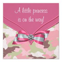 Pink Camouflage Princess Baby Shower Invitation