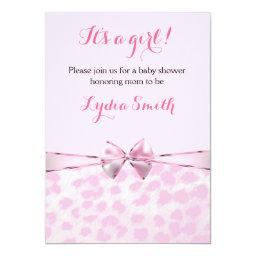 Pink Cheetah Leopard Bow  Girl Invite