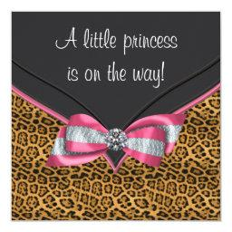 Pink Cheetah Princess Baby Shower Invitations