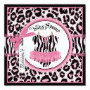 Pink Cheetah Print Rock Star Tutu Baby Shower Invitation