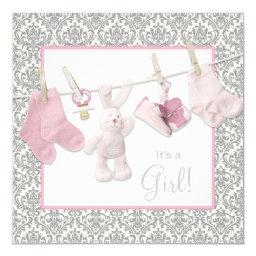 Pink Clothesline Baby Shower Invitations