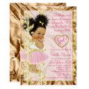 Pink Copper Gold Baby Shower Girl Invitation
