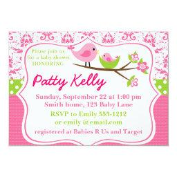 Pink Damask Baby Shower  with birdies