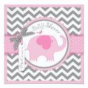 Pink Elephant And Chevron Print Baby Shower Invitation