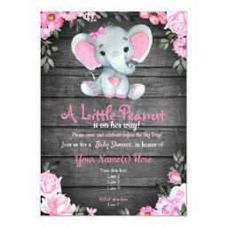 Pink Elephant Baby Shower Invitation, Rustic Invitation