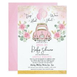 Pink Floral Car Balloons Drive By Girl Baby Shower Invitation