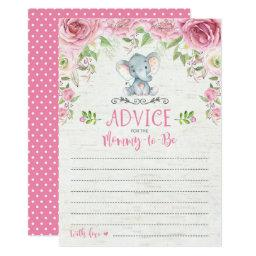 Pink Floral Elephant Advice Card Baby Shower Game