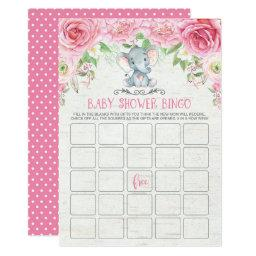 Pink Floral Elephant Bingo Baby Shower Game