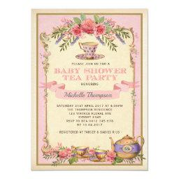 Pink Floral Vintage Tea Party Invite Shabby Chic