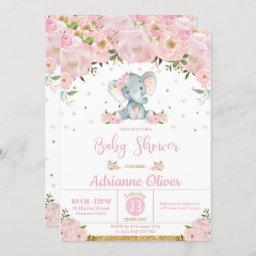 Pink Floral Whimsical Elephant Girl Baby Shower Invitation