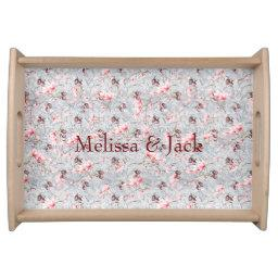 Pink Floral & Winter Berries Serving Tray
