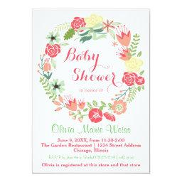 Pink Floral Wreath - Baby Shower