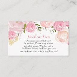 Pink Flowers Book In Lieu, Bring A Book Enclosure Card