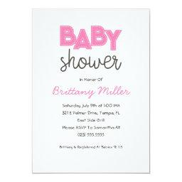 Pink Girl Baby Shower Invitation