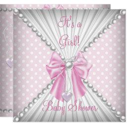 Pink Girl Baby Shower Pearl Polka Dots