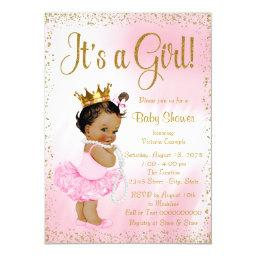 Pink Gold African American Princess Baby Shower