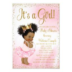 Pink Gold African American Princess Baby Shower Invitations