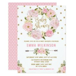 Pink & Gold Boho Floral Baby Shower