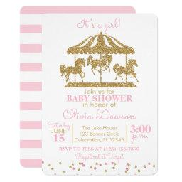 Pink & Gold Carousel Girl Baby Shower Invitation