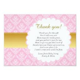 Pink Gold Damask Thank You  Baby Shower