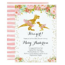 Pink Gold Dino Girl Baby Shower Invite
