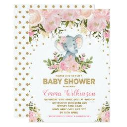 Pink & Gold Floral Elephant Baby Shower Invitation