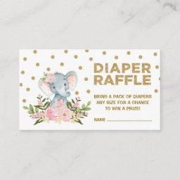 Pink & Gold Floral Elephant Diaper Raffle Ticket Enclosure