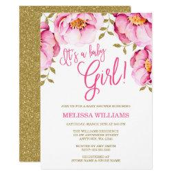 Pink Gold Floral Watercolor Baby Shower