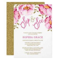 Pink Gold Floral Watercolor Sip And See