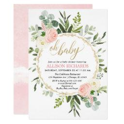 Pink Gold Greenery Elegant Girl Baby Shower Invitation