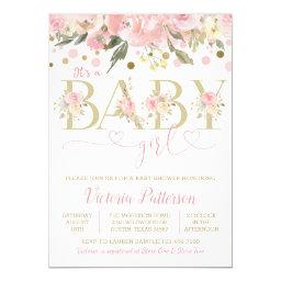 Pink Gold Its A Girl Watercolor Floral Baby Shower Invitation