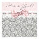 Pink Gray Damask Pink And Gray Baby Girl Shower Invitations