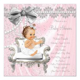 Pink Gray Satin Pearl Chair Baby Shower