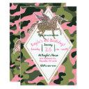 Pink Green Camo Camouflage & Gold Unicorn Party Invitation