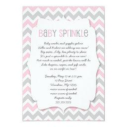 Pink Grey Baby Sprinkle / girl baby shower invite