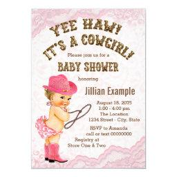 Pink Lace Cowgirl Baby Shower Invitation