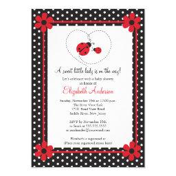 Pink Ladybug Baby Shower Invitation