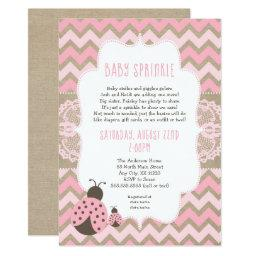 Pink Ladybug Baby Sprinkle, Girl Baby Shower Invitation
