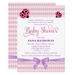 Pink Ladybug With Lavender and Silver Baby Shower