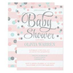 Pink Mint And Silver Baby Shower