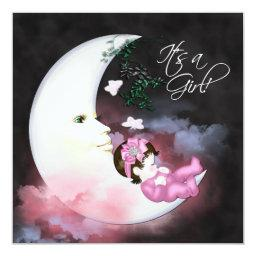Pink Moon Baby Girl Shower Invitaions