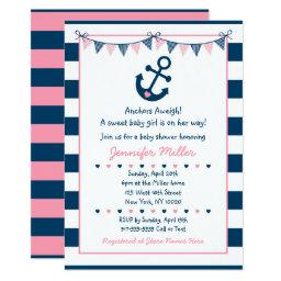 Pink Nautical Anchor Baby Shower Invitation