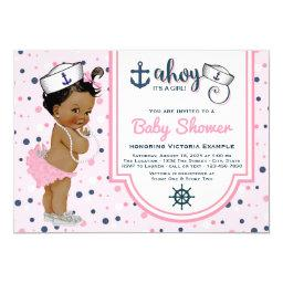 Pink Navy Blue Ethnic Girl Nautical Baby Shower
