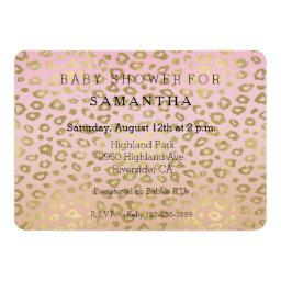 Pink Ombre Gold Leopard Print Baby Shower